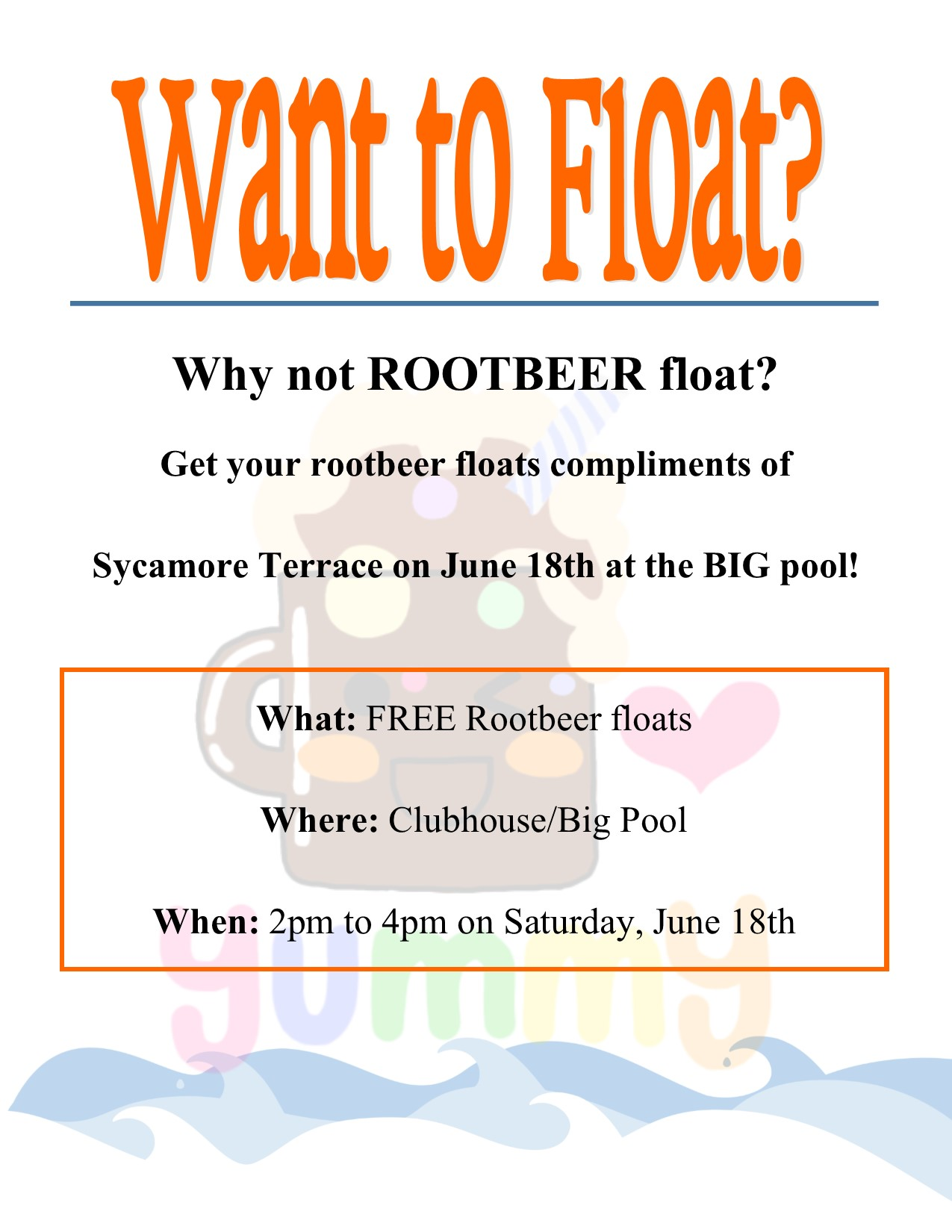 Root beer floats by pool 5-16