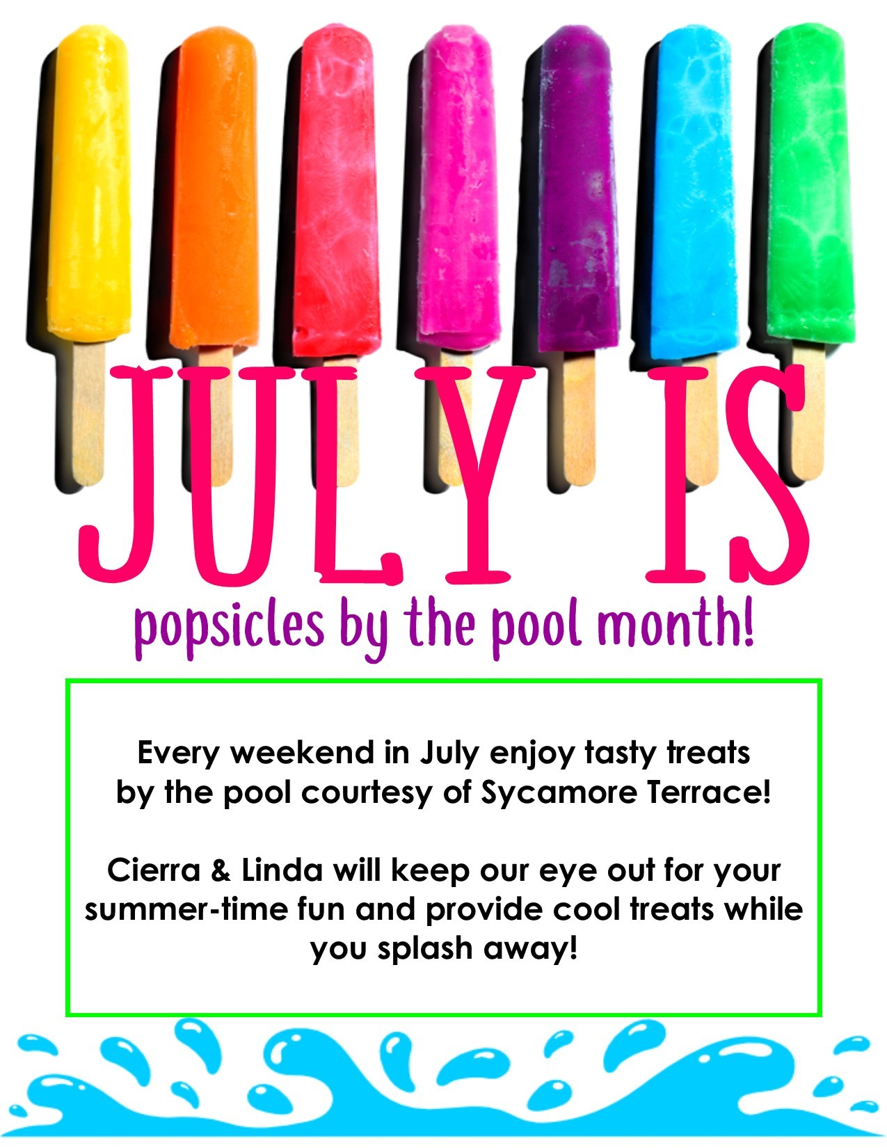Popsicles by the Pool Month