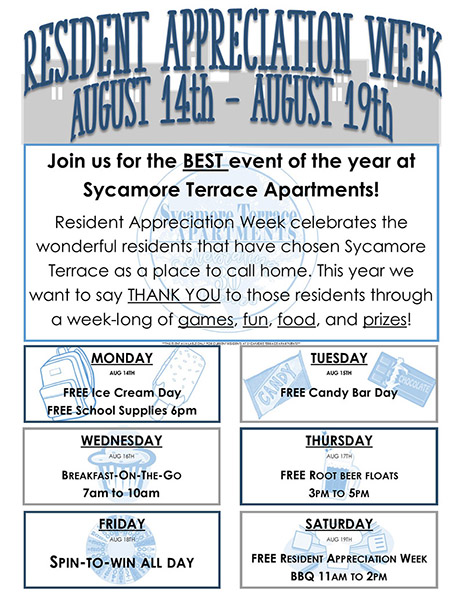 Sycamore Terrace Apartments Brings Back Resident Appreciation Week!