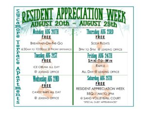 Resident Appreciation Week 2018 - Schedule of Events ...