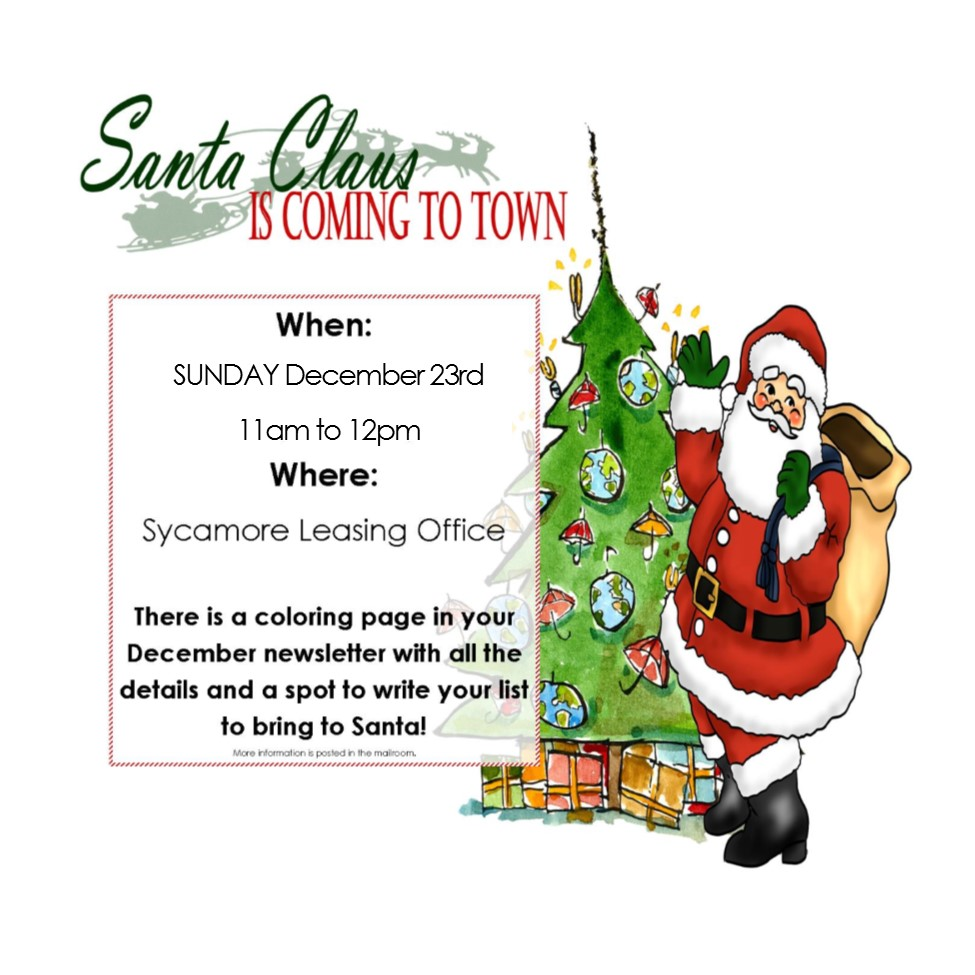 santa is coming to sycamore