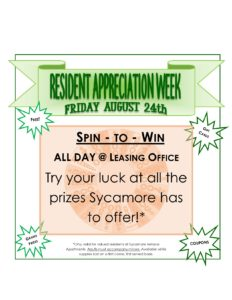 resident week posting calendar spin to win